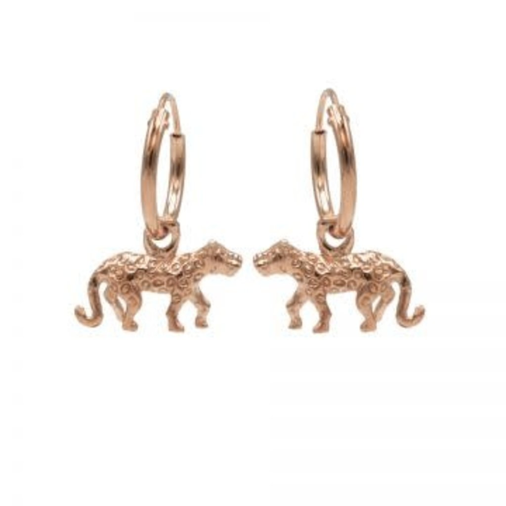 Karma Karma oorbellen Hoops Symbols Leopard Rosé Gold Plated