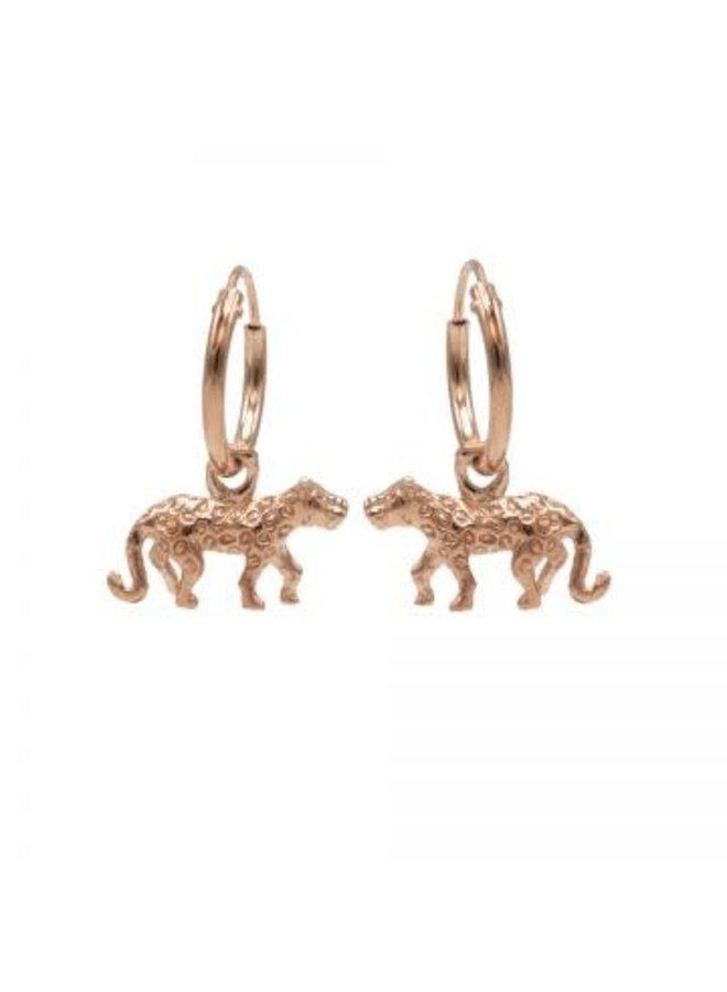 Karma oorbellen Hoops Symbol Leopard Rosé Gold Plated