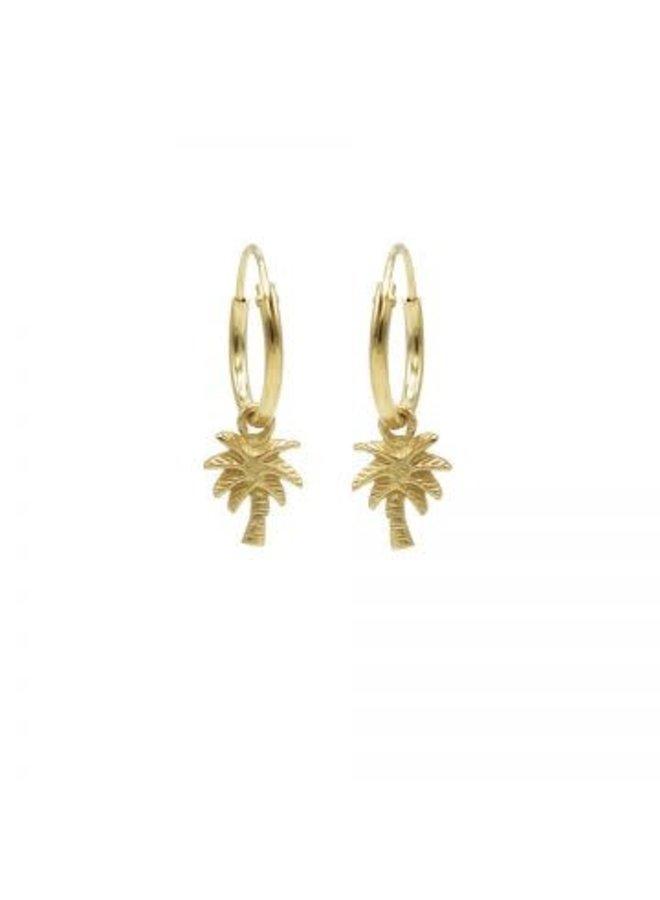 Karma oorbellen Hoops Symbol Palm Tree Gold Plated