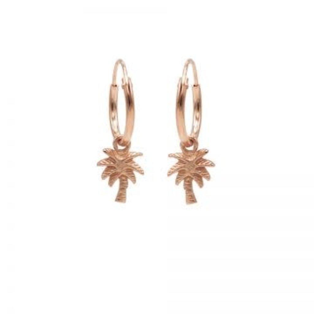 Karma Karma oorbellen Hoops Symbol Palm Tree Rosé Gold Plated