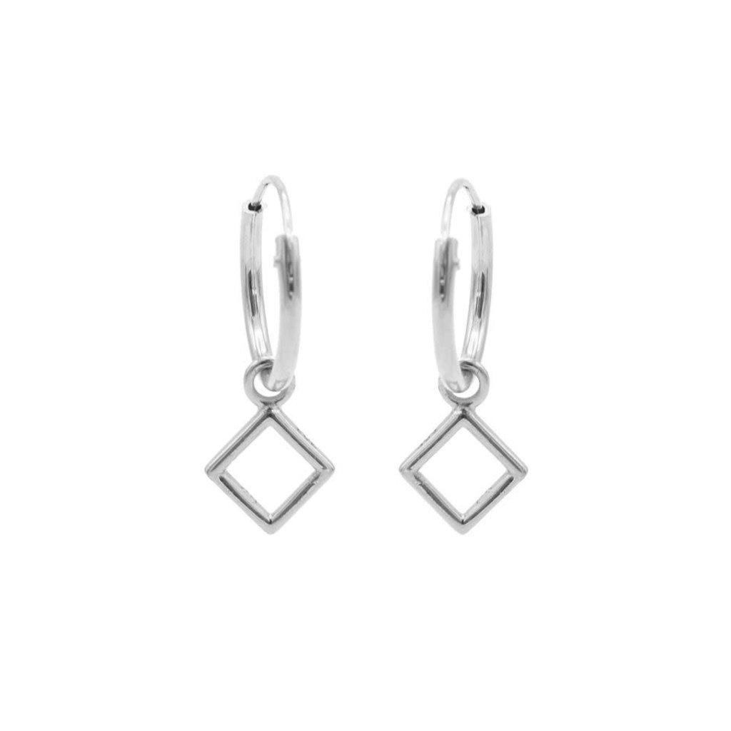 Karma Karma oorbellen Hoops Symbols Open Square Silver