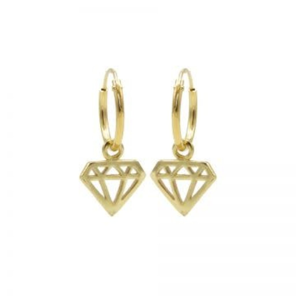 Karma Karma oorbellen Hoops Symbols Diamond Gold Plated