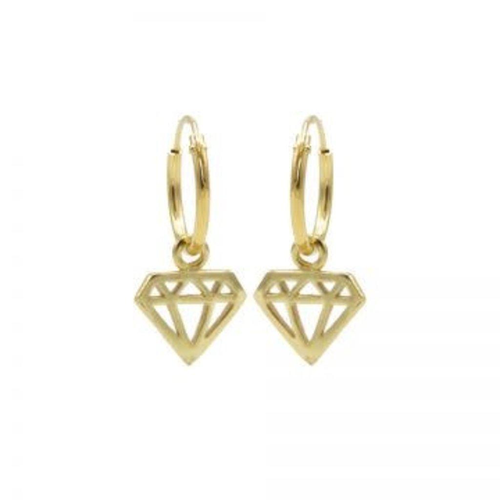 Karma Karma oorbellen Hoops Symbols Diamond Gold Plated