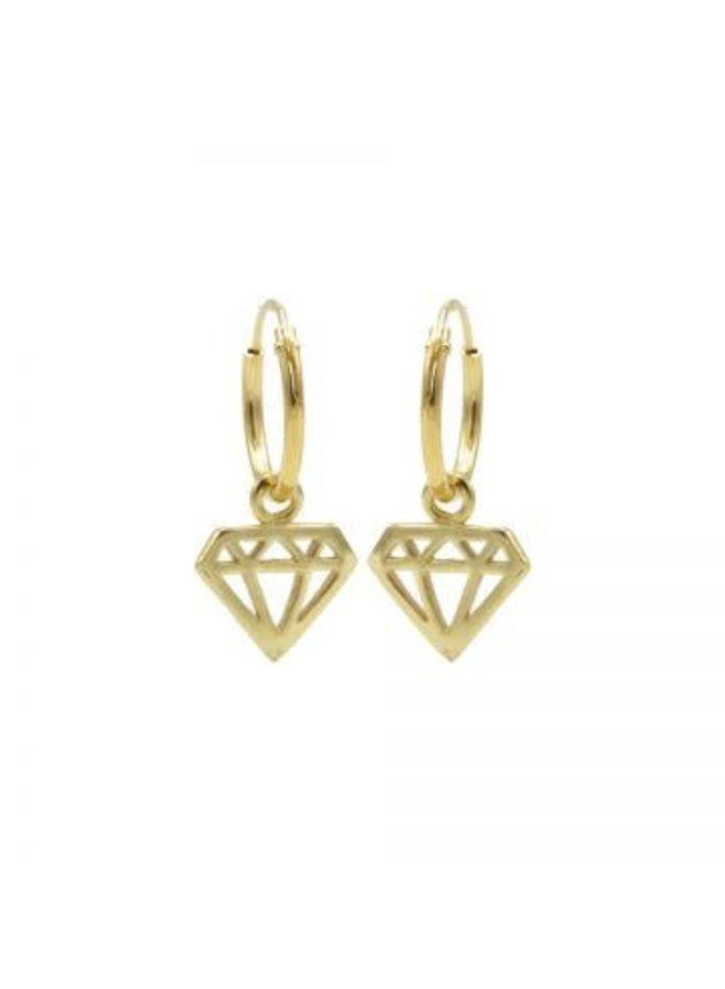 Karma oorbellen Hoops Symbol Diamond Gold Plated