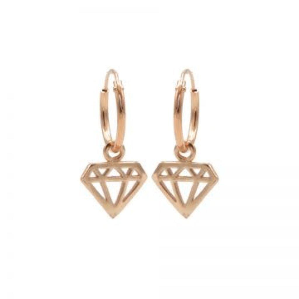 Karma Karma oorbellen Hoops Symbols Diamond Rosé Gold Plated