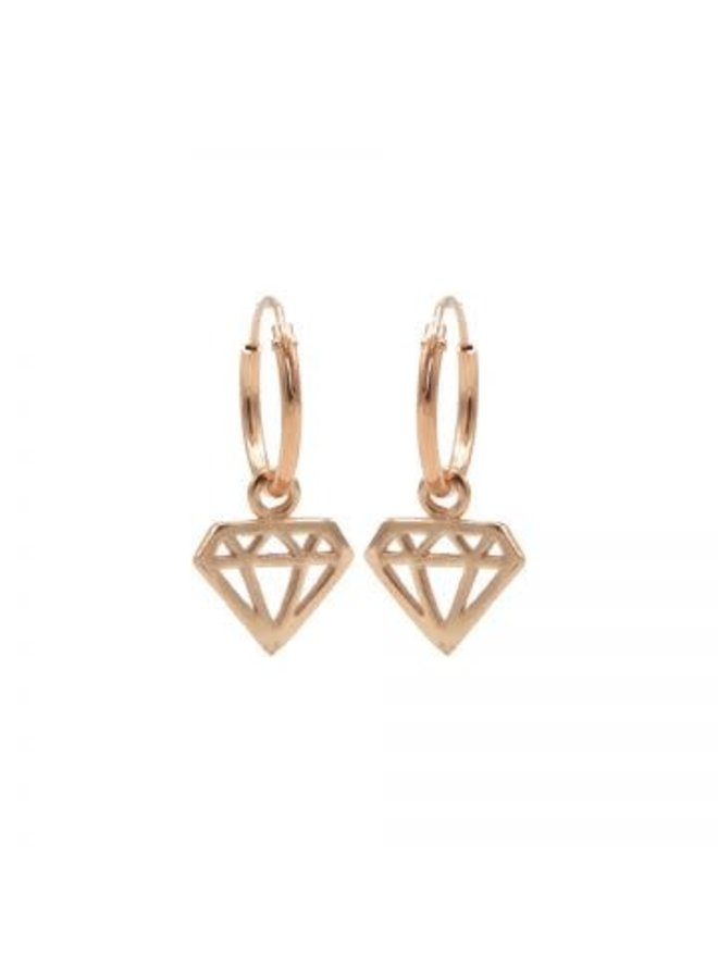 Karma oorbellen Hoops Symbol Diamond Rosé Gold Plated
