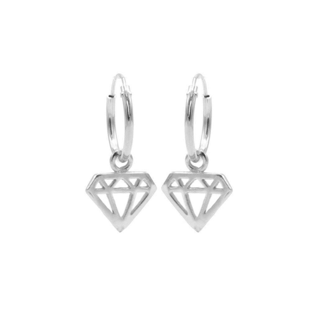 Karma Karma oorbellen Hoops Symbol Diamond Silver