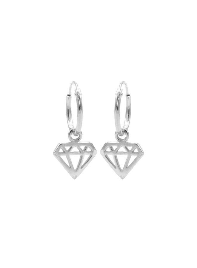 Karma oorbellen Hoops Symbol Diamond Silver