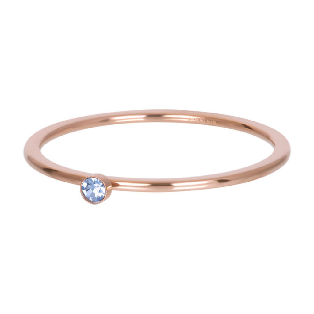 iXXXi Jewelry iXXXi vulring 1 mm Light Saphire 1 Stone Crystal Rosé Gold Plated
