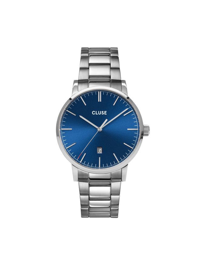 CLUSE horloge Aravis 3-link Silver Dark Blue