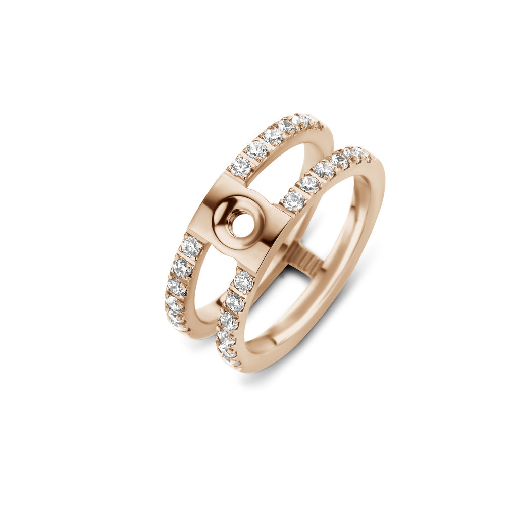 Melano Melano Twisted ring Trista CZ Rosé Gold Plated