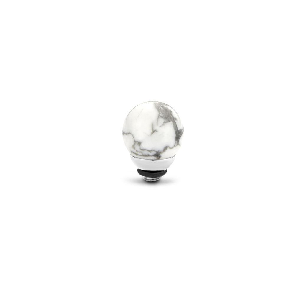 Melano Melano Twisted meddy Gemstone Ball Howlite 8 mm Stainless Steel