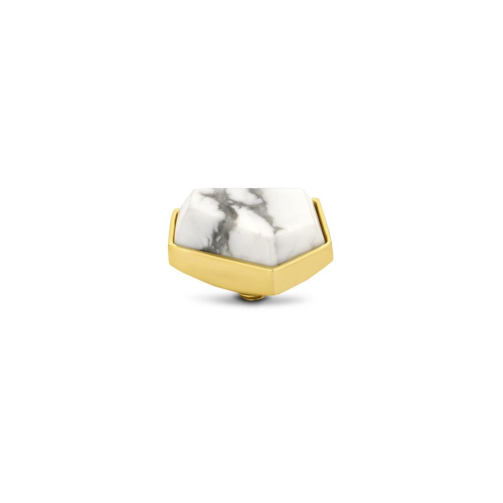 Melano Melano Twisted meddy Geo 12 mm Howlite Gold Plated
