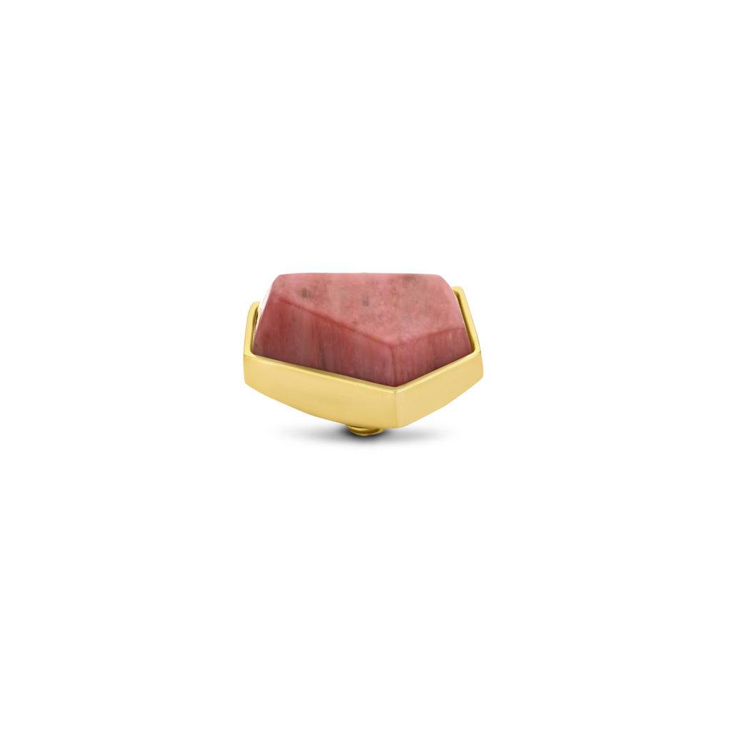 Melano Melano Twisted meddy Geo 12 mm Rhodonite Gold Plated