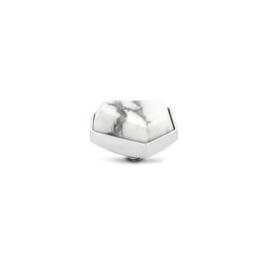 Melano Melano Twisted meddy Geo 12 mm Howlite Stainless Steel