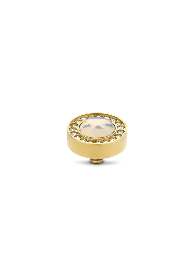 Melano Twisted meddy Halo CZ 10 mm White Opal Gold Plated