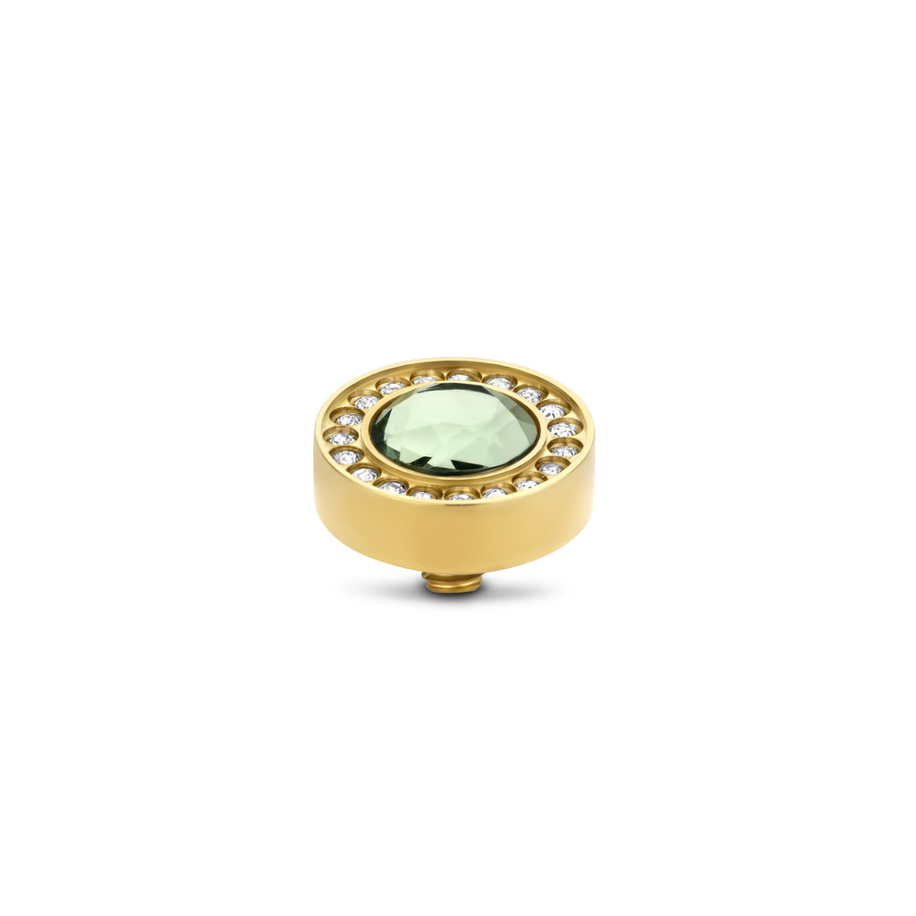 Melano Melano Twisted meddy Halo CZ 10 mm Chrysolite Gold Plated