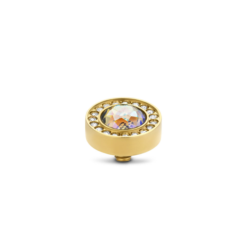 Melano Melano Twisted meddy Halo CZ 10 mm Jonguil AB Gold Plated