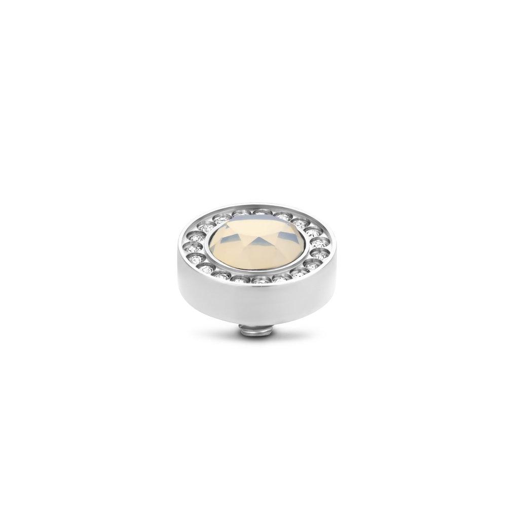 Melano Melano Twisted meddy Halo CZ 10 mm White Opal Stainless Steel
