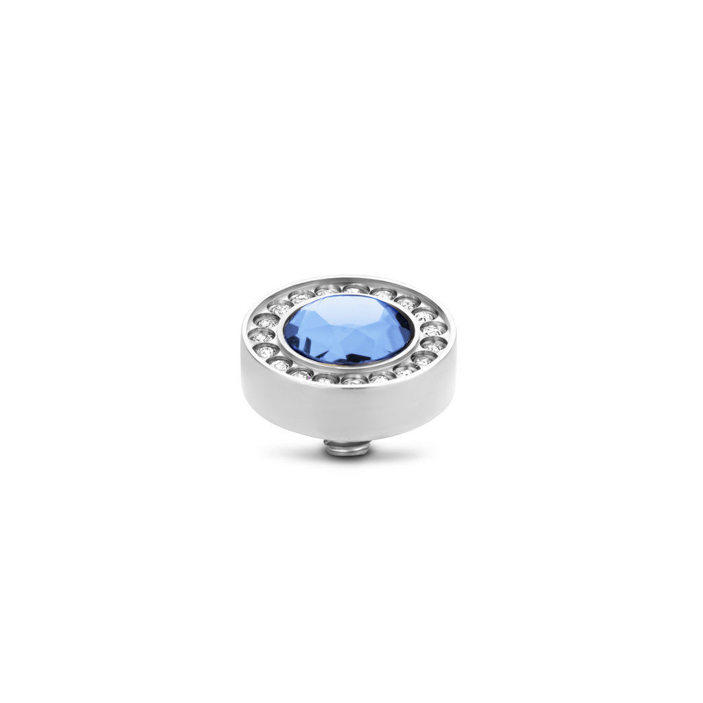 Melano Melano Twisted meddy Halo CZ 10 mm L. Sapphire Stainless Steel