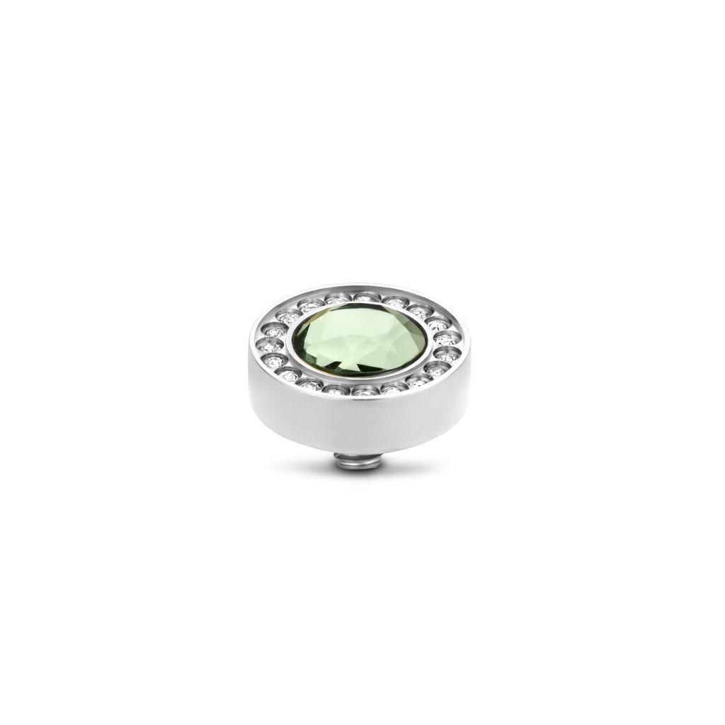 Melano Melano Twisted meddy Halo CZ 10 mm Chrysolite Stainless Steel