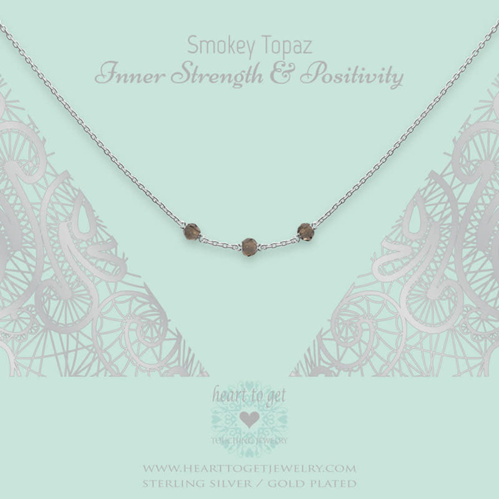 Heart to Get Heart to Get ketting Gemstone in between Smokey Topaz Silver