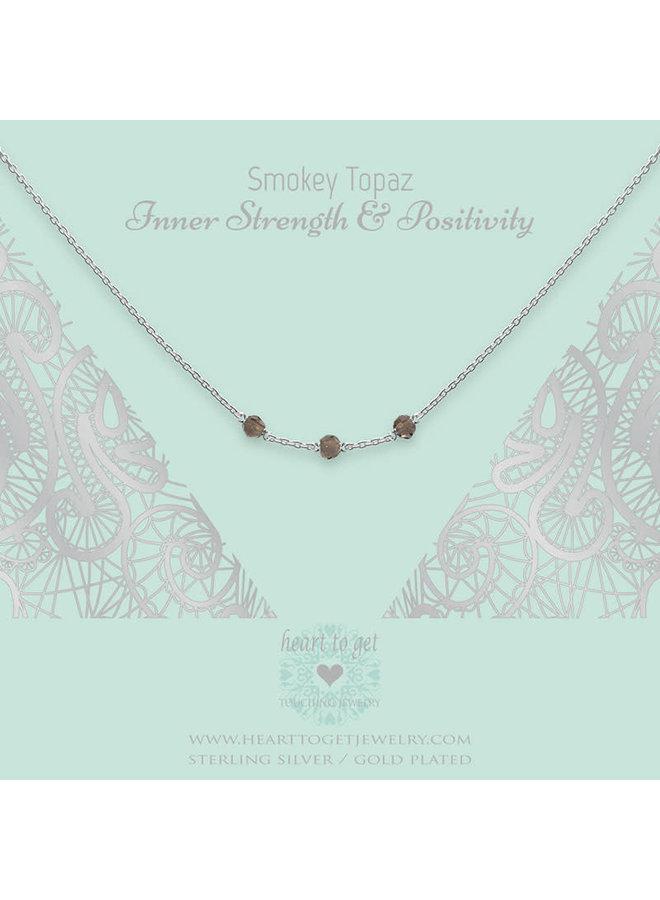 Heart to Get ketting Gemstone in between Smokey Topaz Silver