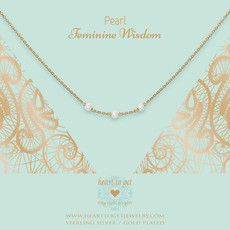Heart to Get Heart to Get ketting Gemstone in between Pearl Gold Plated