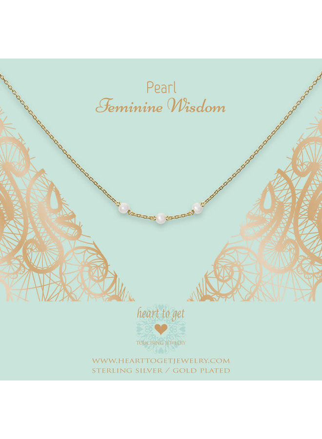 Heart to Get ketting Gemstone in between Pearl Gold Plated