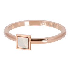 iXXXi Jewelry ixxxi vulring 2mm Pink Shell Stone Square Rosé Gold Plated