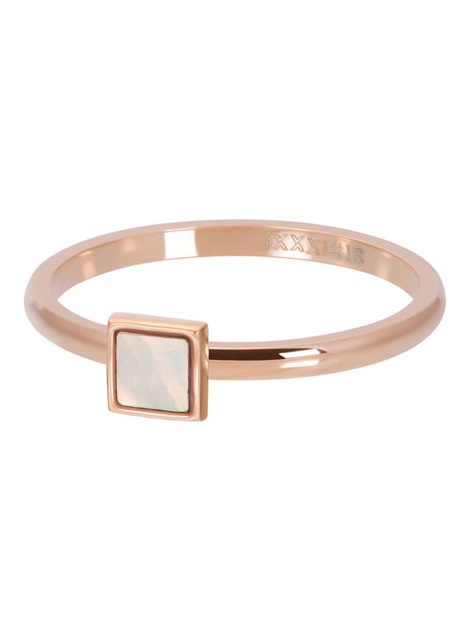 ixxxi vulring 2mm Pink Shell Stone Square Rosé Gold Plated