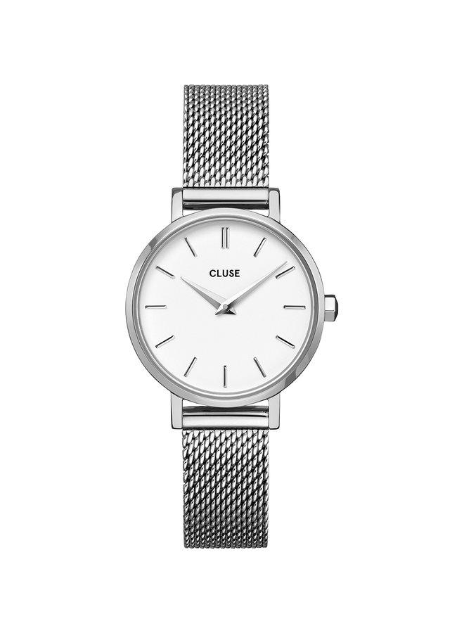 CLUSE horloge Boho Chic Petite Mesh  Silver/White
