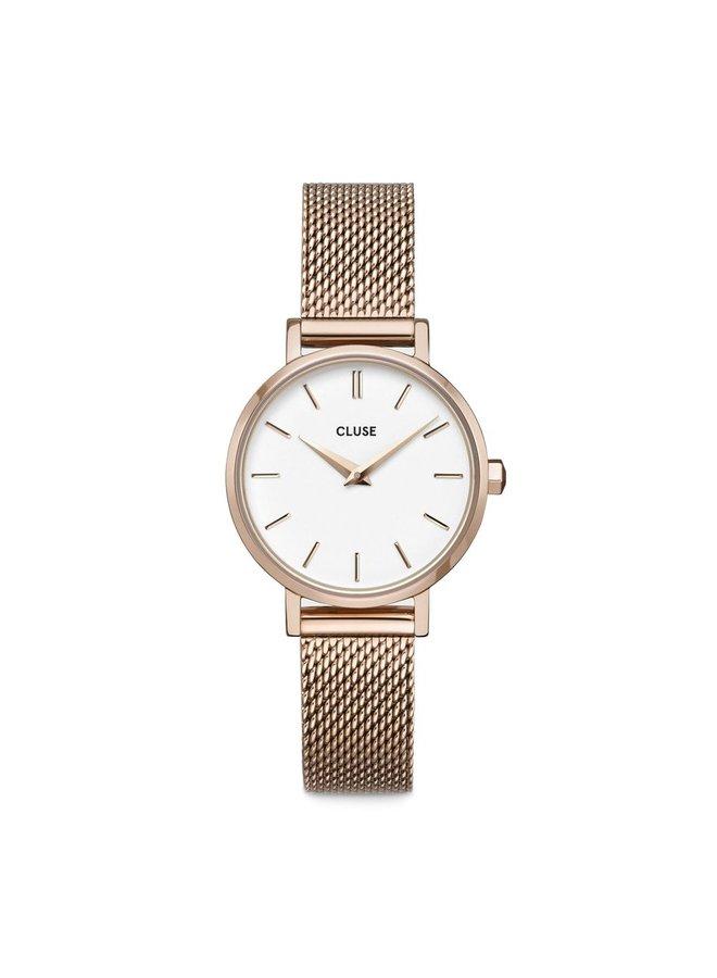 CLUSE horloge Boho Chic Petite Mesh  Rose/White