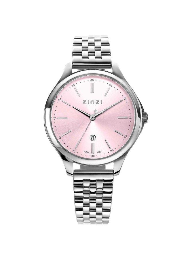 Zinzi horloge Classy ZIW1041 Silver/Pink 34mm