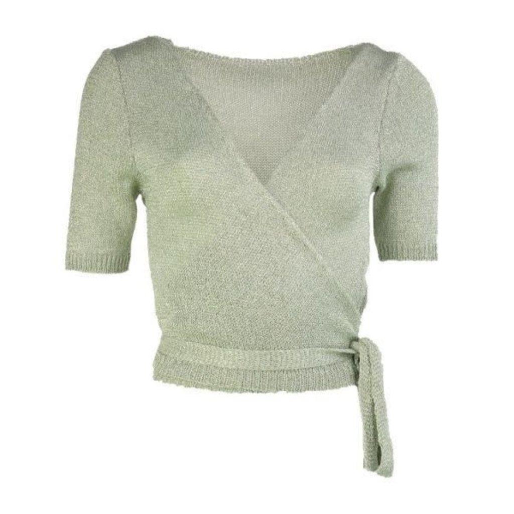 Typical Jill wikkel vest Demi Lurex Light Green