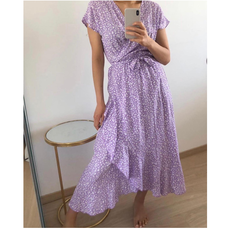 Jewelz overslag jurk M088 Lila/Wit