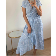 Jewelz overslag jurk M088 Blauw/Wit