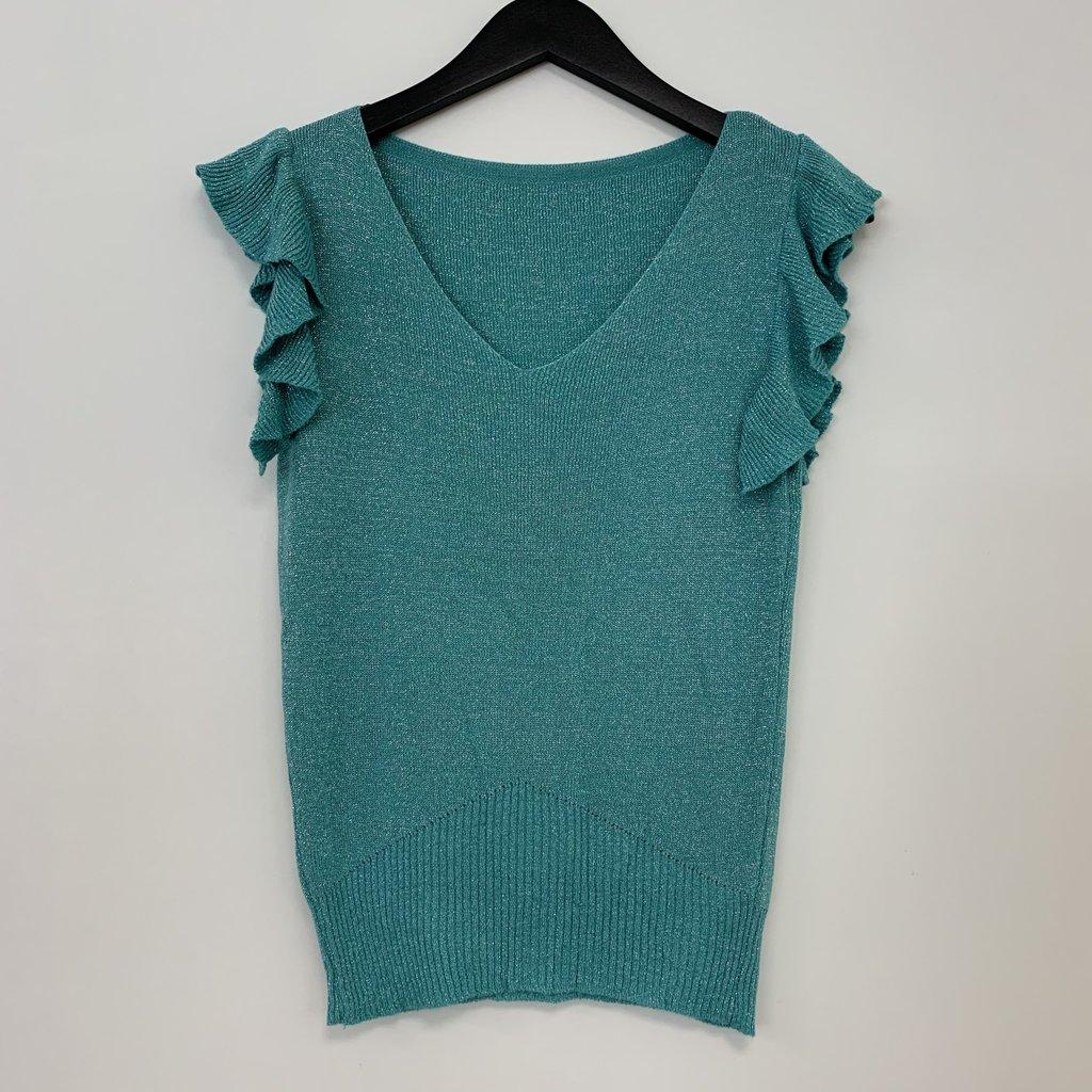Jewelz top Roesel Mouw Glitter Aqua/Green One Size