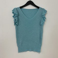 Jewelz top Roesel Mouw Glitter Aquamarine One Size