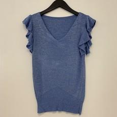 Jewelz top Roesel Mouw Glitter Blue One Size