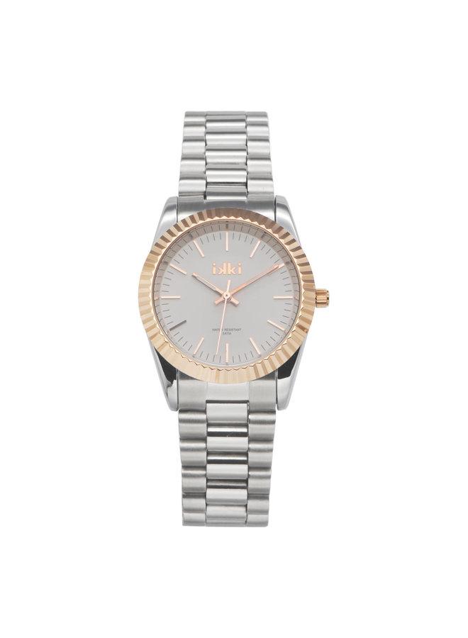 IKKI horloge Bronx BX05 Silver/Rosé Gold Plated