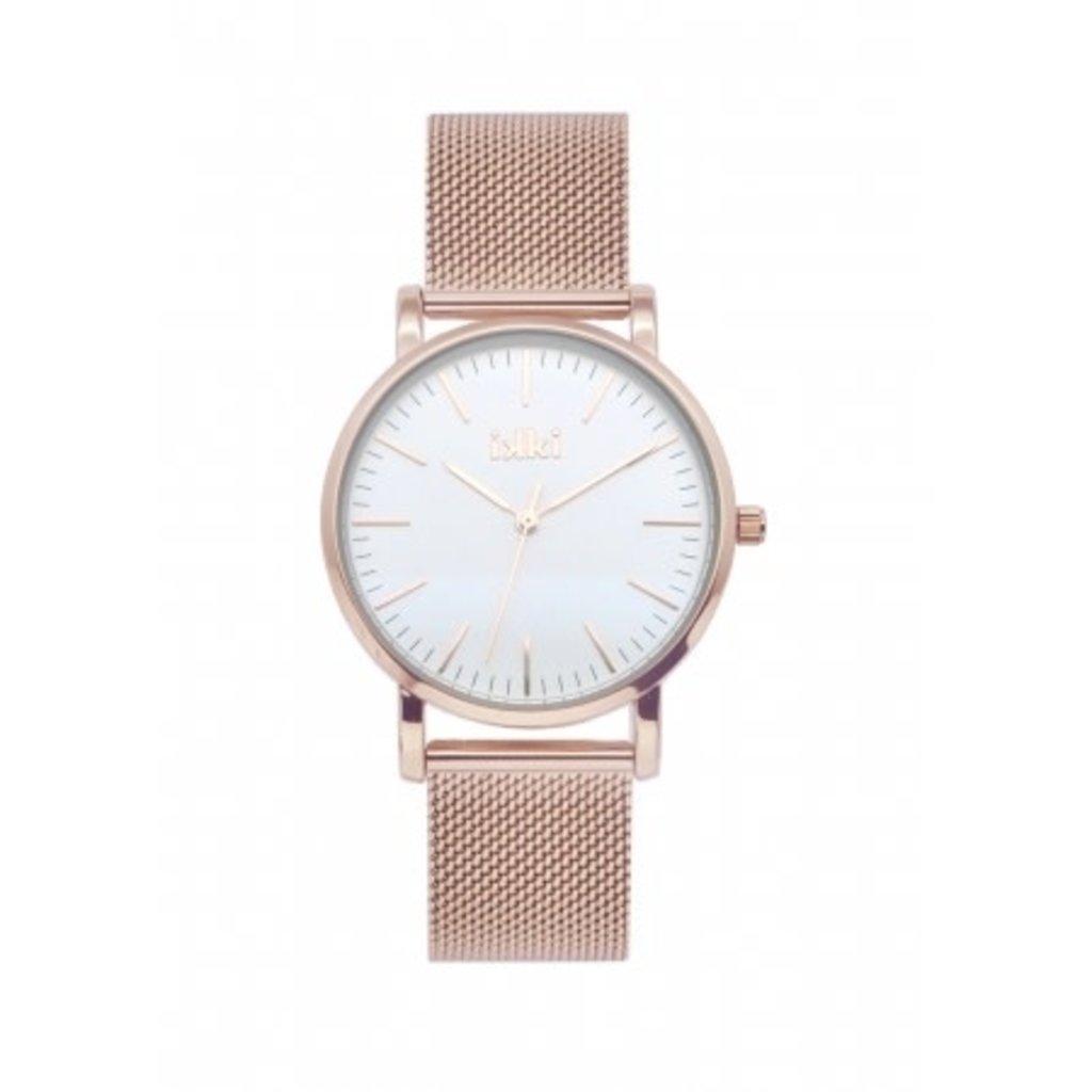 IKKI IKKI horloge Jamy JM15 Rosé Gold Plated/White