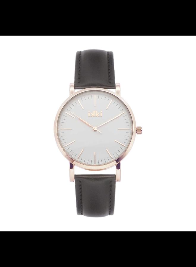 IKKI horloge Janet JT16 Dark Brown/Rose Gold Plated/White