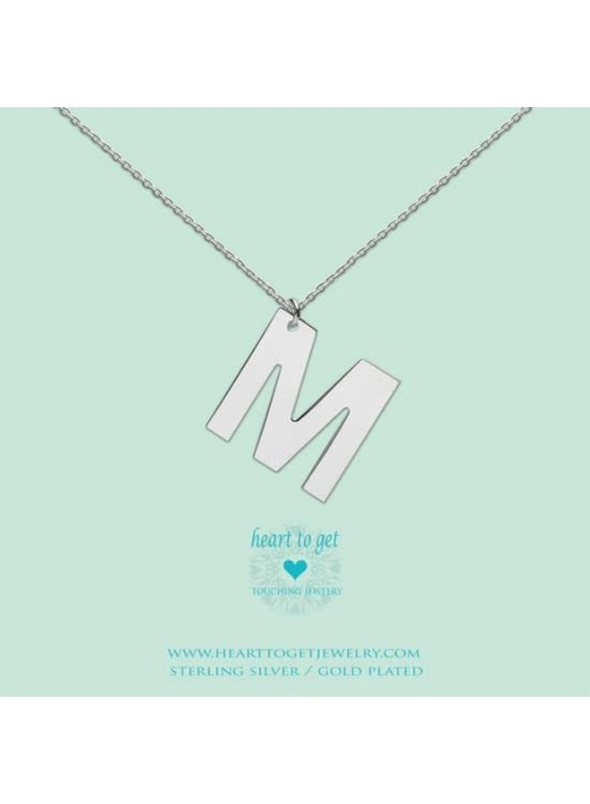 Heart to Get ketting Big Initial M Silver