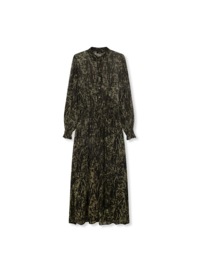 ALIX  The Label Animal Maxi Dress Dark Olive