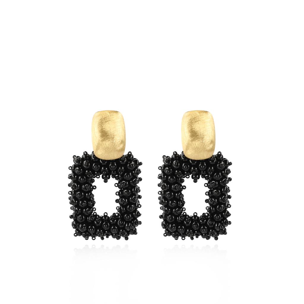 LOTT. Gioielli LOTT. Gioielli oorbellen Glassberry Double Stones Black Gold