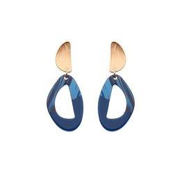 Biba Biba oorbellen 81529 Blue Gold Plated