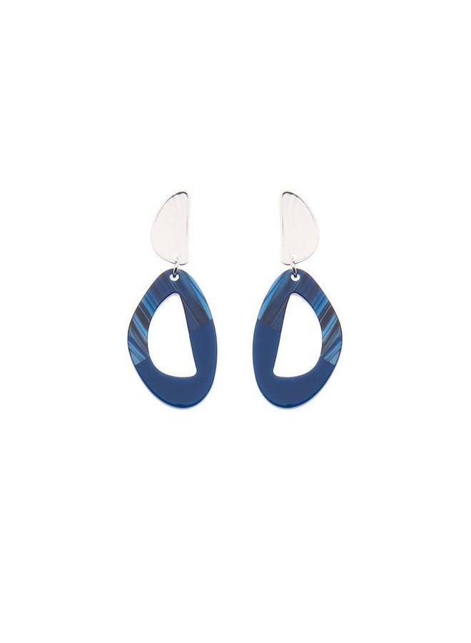 Biba oorbellen 81530 Blue Silver Plated