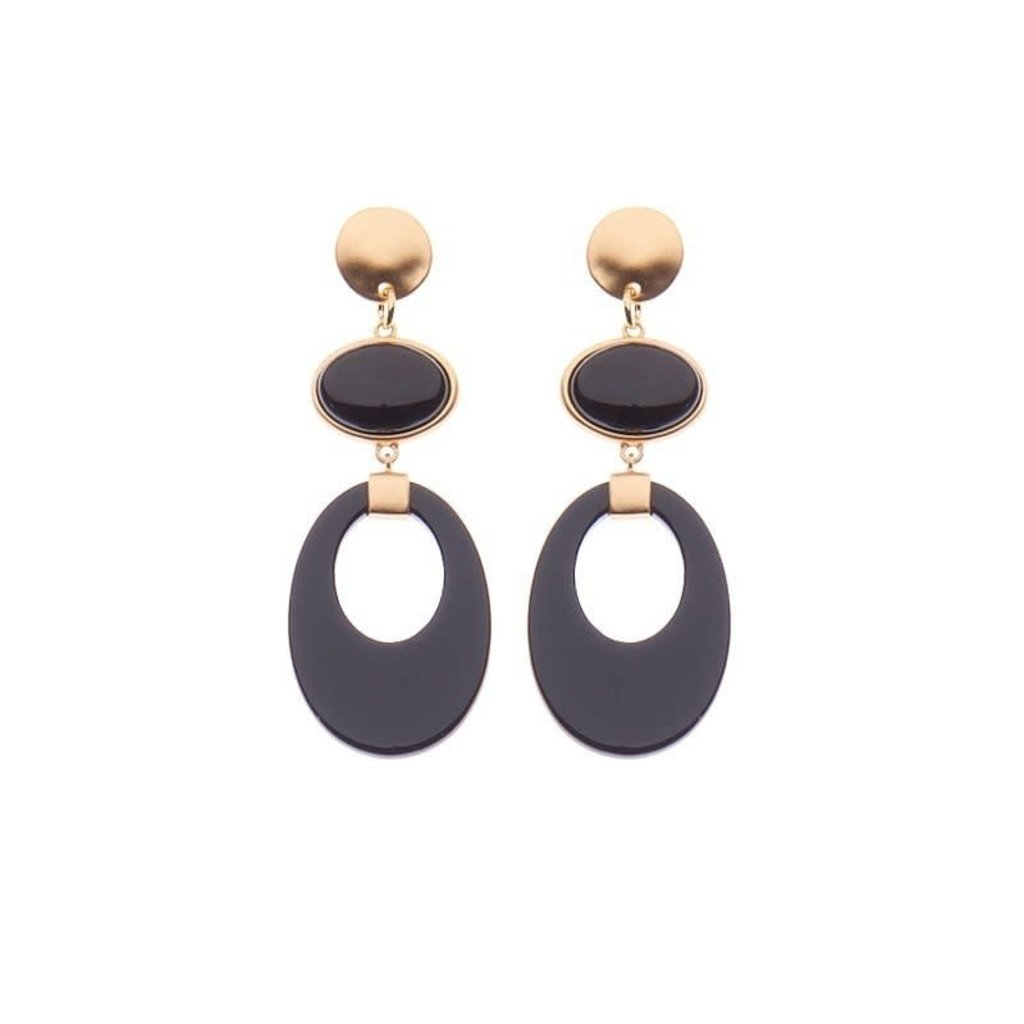 Biba Biba oorbellen 81541 Black Gold Plated