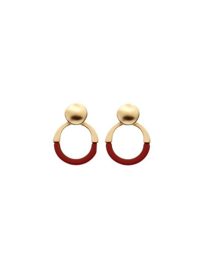 Biba oorbellen 81545 Dark Red Gold Plated